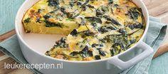 Lekker bij een stukje vlees of vis: aardappeltortilla uit de oven met verse spinazie