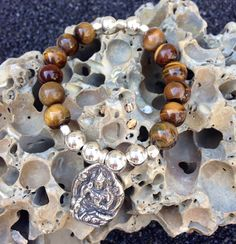 Tiger's Eye and Sterling Silver Mala Bracelet by FTSoul on Etsy