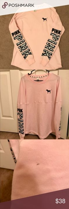 VS PINK Aztec Crew Worn a few times, there is pilling as shown in the picture (under arms and some on lower back). There is also a small black dot on the back. PINK Victoria's Secret Tops Sweatshirts & Hoodies