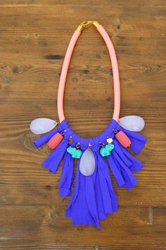 statement rope necklace in neon orange purple by anemosCreation