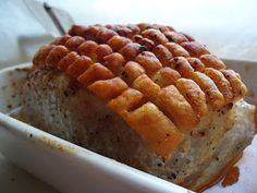 "Langstekt skinkestek med svor (long baked pork butt roast with crispy skin). This is our meat for Dec. the BEST gravy! In the stores in the U., I normally buy pork ""picnic"" roast. Pork Picnic, Picnic Roast, Lchf, Norwegian Food, Norwegian Recipes, Good Gravy, Scandinavian Food, Baked Pork, Bread Recipes"