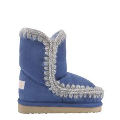 Mini eskimo | Adorable children's version of the popular Eskimo boot. Luxurious pure sheepskin with crocheted wool seams, supportive heel counter and a hardwearing EVA & rubber outdoor sole. Small fit: we suggest ordering one size up. www.mou-online.com