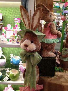 Hanging Bunny Head - three colors - from Burton & Burton - arriving soon to Trendy Tree!  http://www.trendytree.com/burton-and-burton/32-hanging-easter-bunny-head-burlap-and-sisal.html