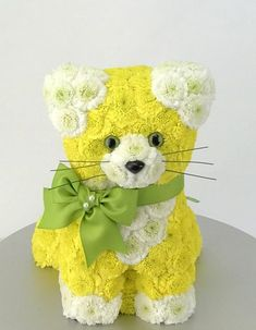 Cat made from fresh flowers
