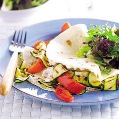 Tortilla met geitenkaas en gegrilde groenten, glutenvrije wraps gebruiken