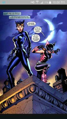 Catwoman and Catgirl (Holly Robinson) Batman Und Catwoman, Batgirl, Comic Books Art, Comic Art, Superhero Design, Bad Cats, Cat People, Gotham City, Girl Cartoon