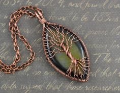 Mystic Agate Tree-Of-Life Necklace Wired Copper Pendant Wire Wrapped Jewelry Copper Jewelry Mens Black Stone Pendant Rustic Unisex Amulet by LeeMarina on Etsy