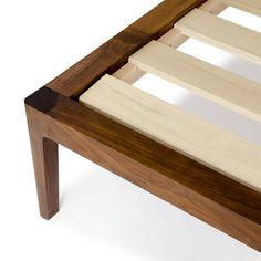 Walnut Platform Bed No. 1 Modern Wood Bed Frame by WilburDavis. Looking well made simple bed frame. No other collections. Modern Wood Bed, Modern Platform Bed, Bed Platform, King Bed Frame, Woodworking Plans, Woodworking Shop, Youtube Woodworking, Woodworking Magazine, Woodworking Projects