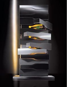 The Veuve Clicquot Vertical Limit by Porsche Design Studio. Only 15 of these bespoke stainless steel wine cellars were ever made, each complete with 12 magnums of Veuve Clicquot vintages selected by four generations of master cellars - from 1955 to 1990 Vertical Limit, Wine Tower, Veuve Cliquot, Home Wine Cellars, Champagne Cooler, Bar A Vin, Wine Wall, Porsche Design, Inspiration Wall