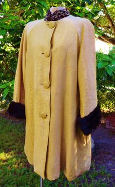 Vintage coat swing jacket in gold with mink cuffs by FeliceSereno, $65.00