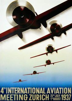 International Air Show 1937 Art Deco vintage aviation poster… Vintage Advertising Posters, Vintage Travel Posters, Vintage Advertisements, Vintage Airline, Art Deco Posters, Poster Prints, Art Prints, Zurich, Art Nouveau