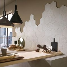 See the latest in kitchen backsplash trends, bathroom floor & wall styles, and much more! Hexagon Tiles, Honeycomb Tile, Hexagon Backsplash, Sheila E, Kitchen Wall Tiles, Modern Kitchen Design, Kitchen Interior, Room Decor, House Design