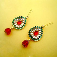 Indian Enamel + Kundan Fashion Earrings