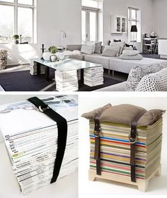 Wow this is such a good idea how to use my collection of Vogue, Elle, L'Officiel. Magazine Table, Magazine Storage, Magazine Display, Apartment Decoration, Pallet House, My Collection, Dream Decor, Creative Decor, Upcycled Furniture