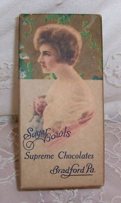 ANTIQUE Chocolate/Candy Box...Edwardian Lady w/ ROSES Lithograph