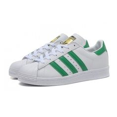 Adidas Originals SUPERSTAR 80s gold DELUXE flour light green bars... via Polyvore featuring shoes, light green shoes, 1980s shoes, adidas originals, adidas originals shoes and 80s footwear