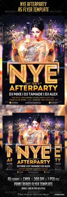 NYE Afterparty A5 Club Flyer Template  A good way to promote your New Year's Eve afterparty in your club!