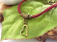 Heart charm cord bracelet by BlueForestJewellery on Etsy, $10.00