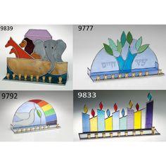 Hanukkah Candle Menorah Stain Glass - ahuva