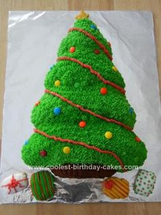 Homemade Christmas Tree Cake: My son has a mid-December birthday and for his 5th birthday decided he wanted a Christmas Tree cake. I found a Wilton Christmas tree pan that made the