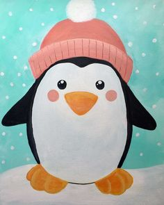 Cozy Penguin - Wed, Dec 26 at East Meadow Kids Canvas Art, Easy Canvas Painting, Summer Painting, Winter Painting, Simple Acrylic Paintings, Cool Paintings, Animal Paintings, Kids Paintings On Canvas, Acrylic Painting For Kids