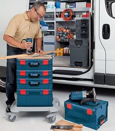 bosch tools storage Tool Organization, Tool Storage, Work Trailer, Bosch Tools, Dust Extractor, Wood Tools, Wood Lathe, Next At Home, Power Tools