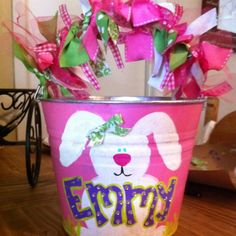 Easter baskets, Easter buckets, hand painted | Designs by Mary ...