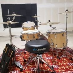 Drum rug came in today. She's all set up and looking lovely #dwdrums #pdpdrums #sabian #tamaironcobra #meinl #money