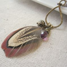 ON SALE Feather Necklace, Real Feather, Charm Necklace, Gemstone Necklace,