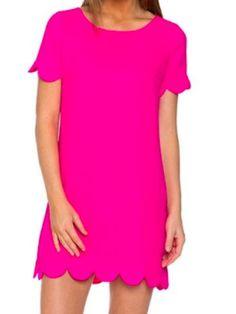 Taylor Scallop Dress - Hot Pink   Sassy Shortcake   www.sassyshortcake.com
