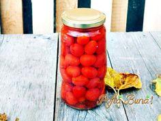 Rosii cherry in apa, pentru iarna, fara conservanti, o metoda simpla si naturala de conserva. O reteta veche si originala de pastrare a rosiilor pentru iarna Food And Drink, Vegetables, Drinks, Cooking, Ideas, Pasta Salad, Legumes, Preserve, Recipes