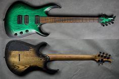 BlacKat Guitars DC6 Carved Top Transparent Green Blackburst.