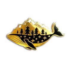 Gold Whale Enamel Pin
