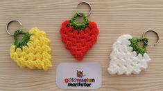 How To Make Crochet strawberry knitting keychain Loom Knitting Patterns, Crochet Stitches Patterns, Stitch Patterns, Crochet Keychain, Crochet Earrings, Crochet Cactus Free Pattern, Crochet Strawberry, Knitting Socks, Flower Patterns