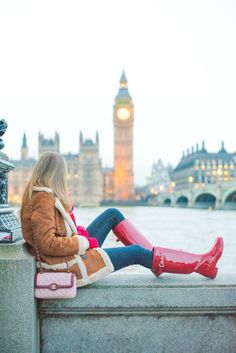 Red Hunter Boots, Hunter Boots Outfit, Hunter Rain Boots, Red Boots, Tall Boots, Snow Outfit, Outfit Winter, Wellies Rain Boots, Timberland Style