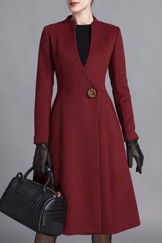 SUSONGETH - Knee Length A Line Wool Blend Coat