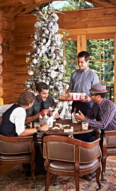 A Rustic Cozy Christmas Log Cabin Christmas, Rustic Christmas, Christmas Trees, Game Room Furniture, Traditional Dining Tables, Used Chairs, Christmas Photography, Grey Wood, Table Games