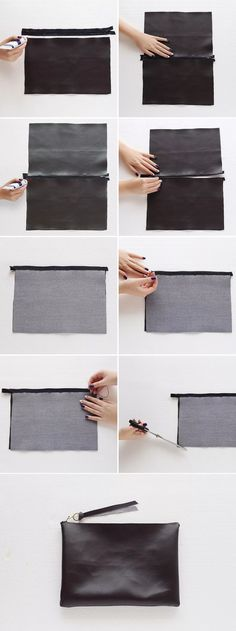 Sewing Projects DIY Fashion - no-sew leather clutch bag tutorial; craft project idea - Besides being budget-friendly, this DIY bag is a no-sew project — all you need to hold the bag together is fabric glue! Sewing Hacks, Sewing Crafts, Sewing Projects, Sewing Diy, Project Projects, Leather Craft, Handmade Leather, Vintage Leather, Diy Bags
