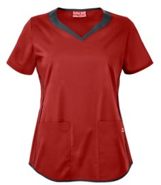 UA Butter-Soft STRETCH Scrubs 3 Pocket Sweetheart Top Get moving in this stylish and sporty stretch scrub top! Contrast bands and piping accent the sweetheart neckline, front sides, and hem. Yoga Scrub Pants, Red Scrubs, Uniform Advantage, Womens Scrubs, Medical Scrubs, Drawstring Pants, Sporty Look, Scrub Tops, Indigo
