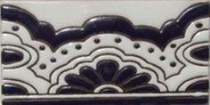 Mexican Tile Handpainted ceramic  Border rvl oc 184 azul