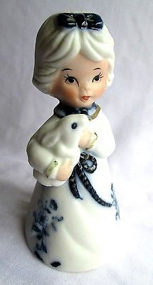 JASCO ROYAL MAJESTIC BELLS FINE BISQUE PORCELAIN GIRL RABBIT BUNNY Figurine Bell