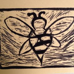 "Lino cut for Day 16 of #30DoC, ""Sting"""