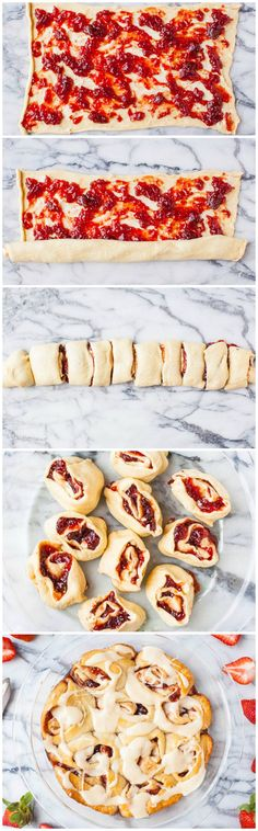 Sweet rolls made from strawberry jam rolled in crescents!