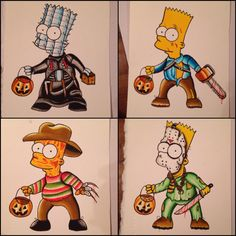 "saintmatt: ""Bart Simpson as Horror Movie Characters by Shane Murphy "" Simpsons Tattoo, Simpsons Art, Graffiti Doodles, Graffiti Drawing, Simpsons Halloween, Halloween 1, Halloween Costumes, Traditional Tattoo Halloween, Bart Simpson"