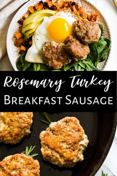 This Homemade Rosemary Breakfast Sausage is a huge it for breakfasts and it's super easy to make. It's gluten free, dairy free, paleo and there's no added sugar. It's packed with flavor and can be made with ground turkey, ground chicken, or ground pork. #turkeysausage #breakfastsausage #paleo Paleo Turkey Recipes, Dairy Free Recipes, Real Food Recipes, Gluten Free, Sausage Breakfast, Healthy Breakfast Recipes, Clean Eating Recipes, Healthy Recipes, Whole 30 Breakfast