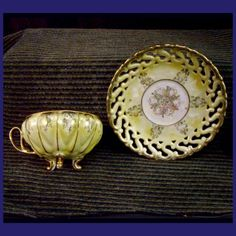 metal footed tea cups | Royal Sealy Tea Cup & Saucer ~ Gold Yellow Opal Finish Footed Fine ...