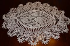 31.5 long oval handmade lace knit doily/ table by BloomingNeedles