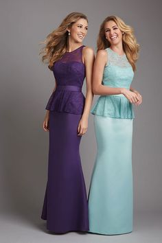 Natural Waist Bateau Sheath Floor Length Satin,lace Bridesmaid Dress picture 1