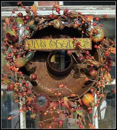 homeroad: Rusty Thanksgiving Wreath - rusty baking pan into autumn wreath Thanksgiving Wreaths, Fall Wreaths, Door Wreaths, Thanksgiving Greetings, Floral Wreaths, Primitive Fall, Primitive Crafts, Country Crafts, Front Door Decor