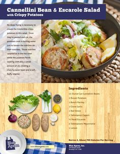 Cannellini Bean and Escarole Salad with Crispy Potatoes